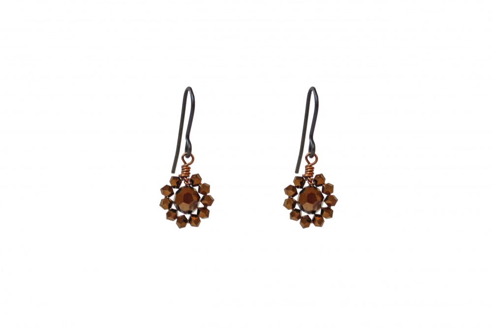 gold crystal droplet earrings