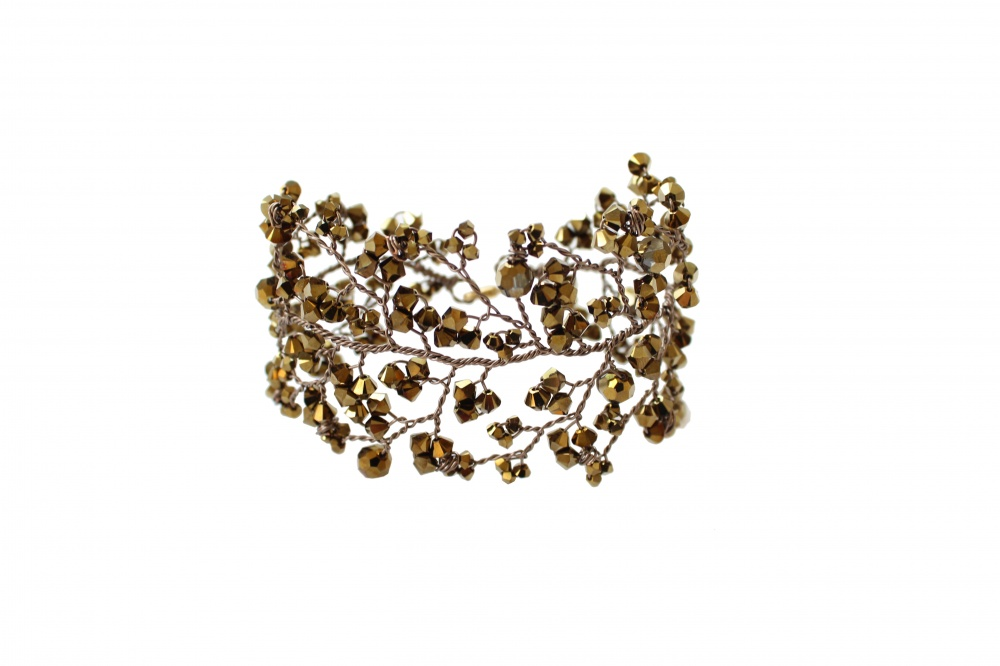 Image of golden bronze Swarovski crystal cuff bracelet - click to view