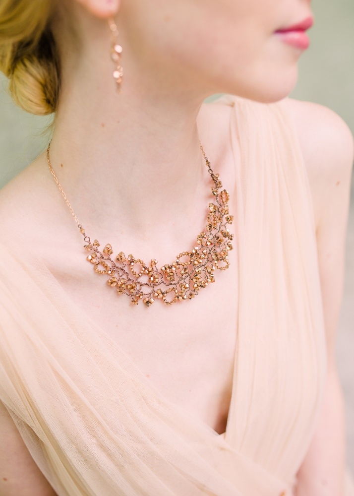 Image of rose gold pink Swarovski crystal necklace - click to view