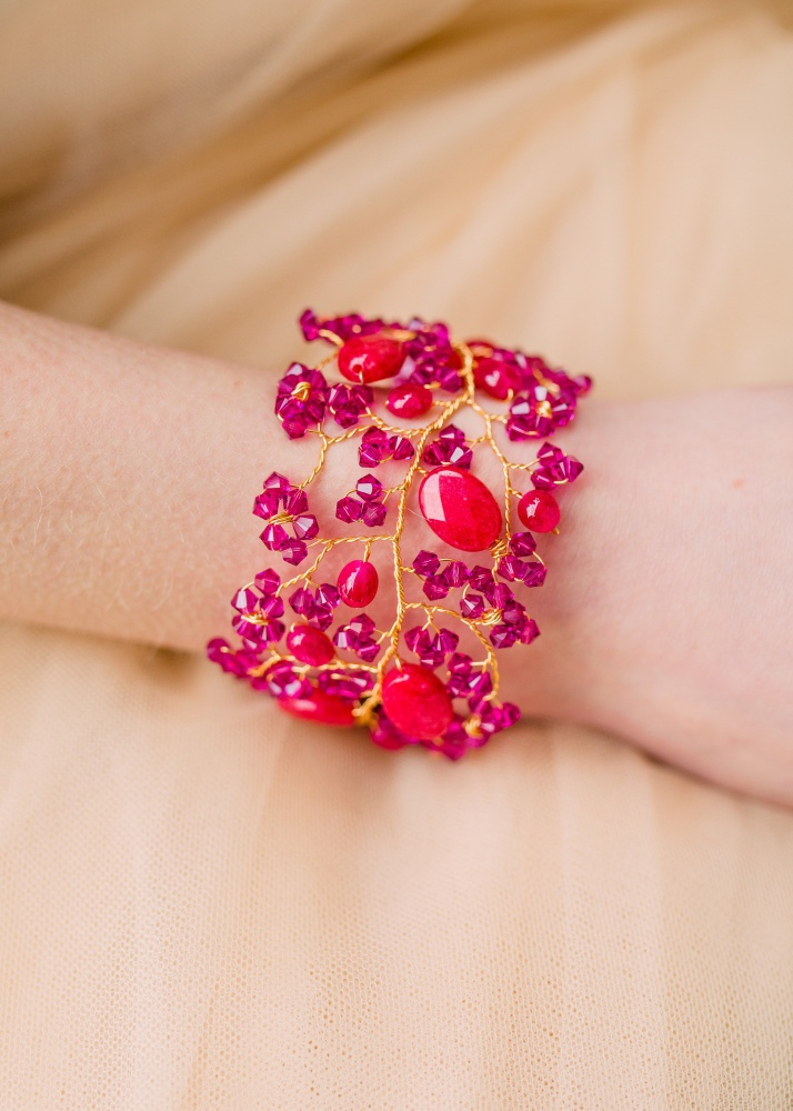 Image of Pink Swarovski and gem stone cuff bracelet - click to view