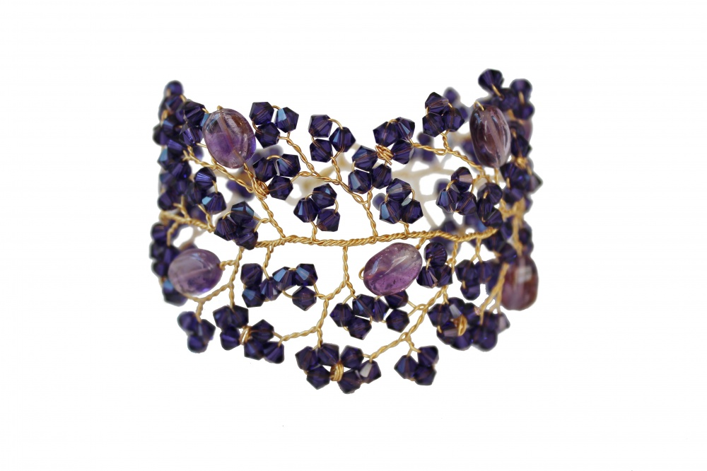 Tonal purple Swarovski and gemstone embellished cuff