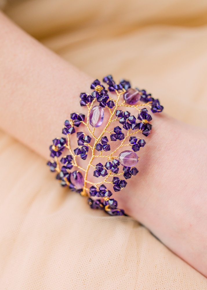 Image of Tonal purple Swarovski and gemstone embellished cuff - click to view