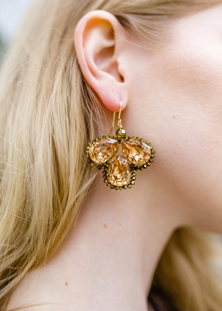 Image of Gold Swarovski crystal large chandelier earrings - click to view