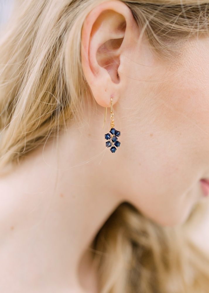 Image of montana blue Swarovski crystal drop earrings - click to view