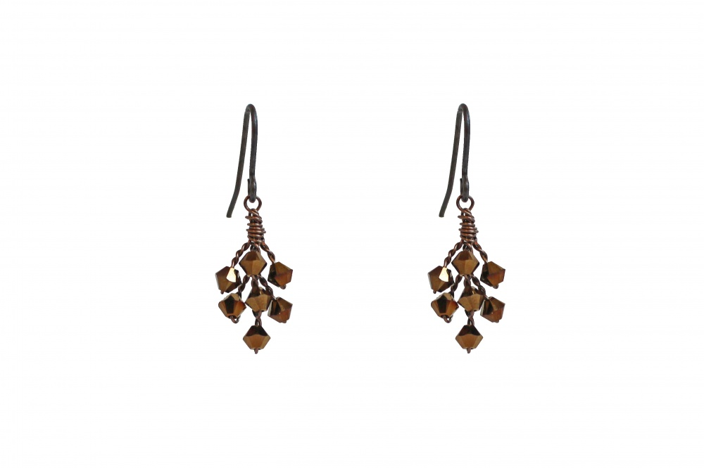 dark gold Swarovski crystal earrings