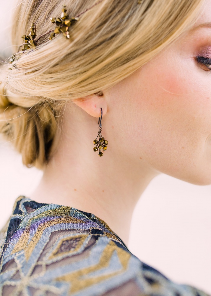 Image of dark gold Swarovski crystal earrings - click to view