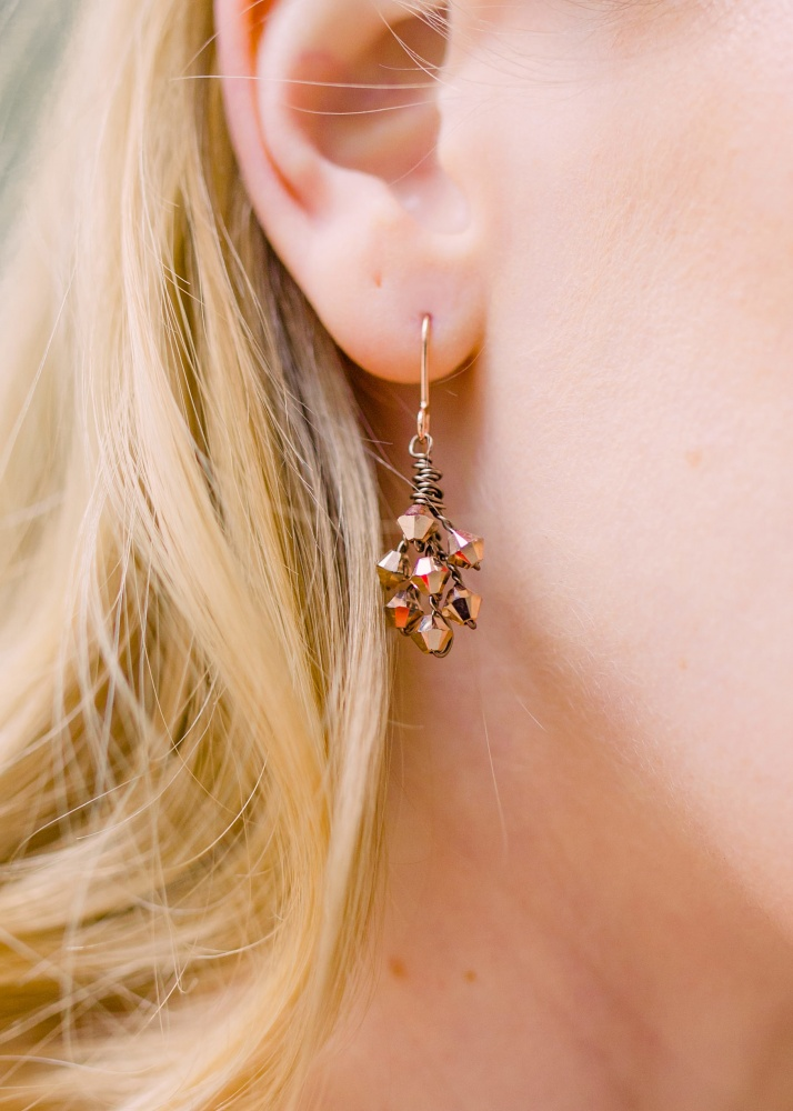 Image of rose gold Swarovski crystal earrings - click to view