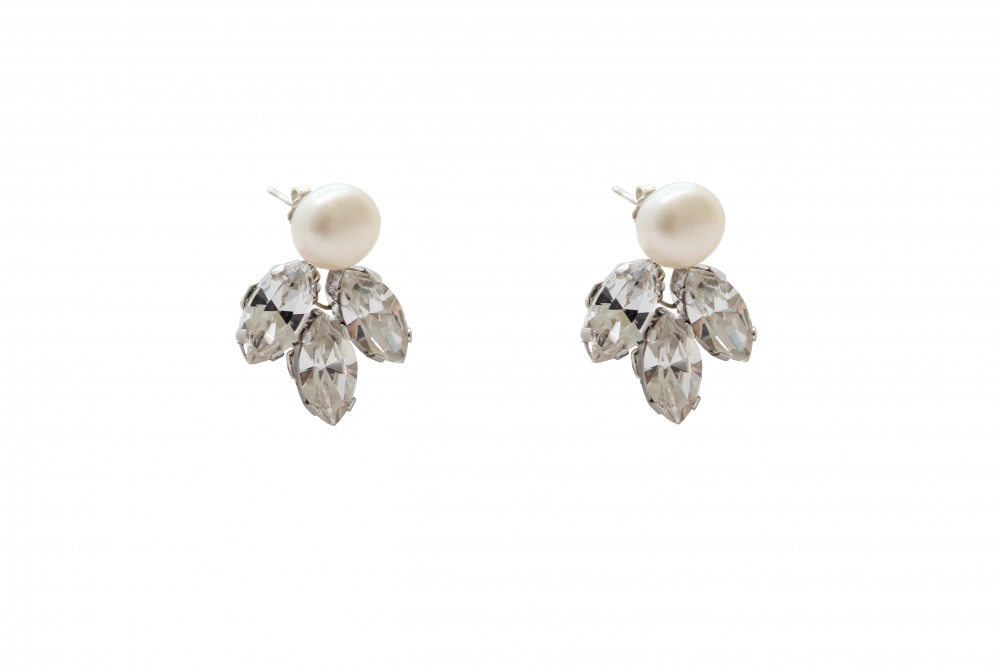Detachable clear crystal stud earrings