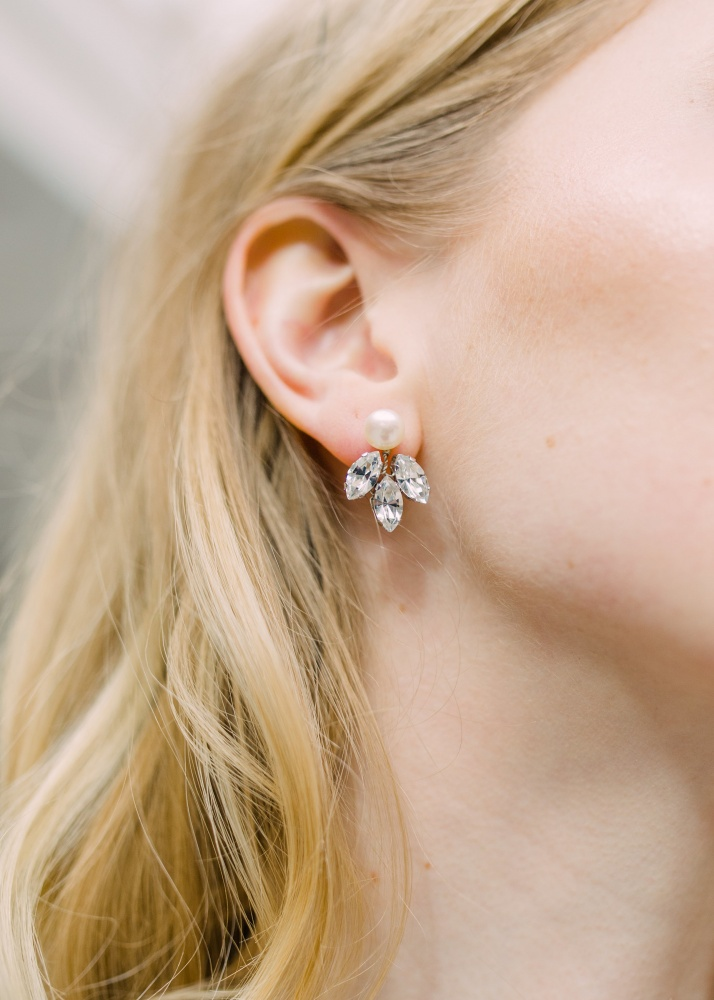 Image of Detachable clear crystal stud earrings - click to view