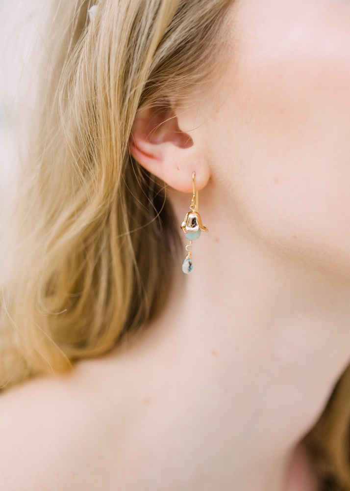 Image of green gemstone and gold droplet earrings - click to view