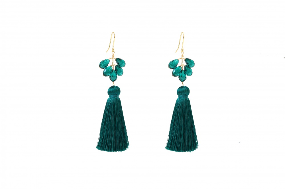 3c04d20a9 Tassel Emerald Crystal Earrings Silk Tassel Earrings