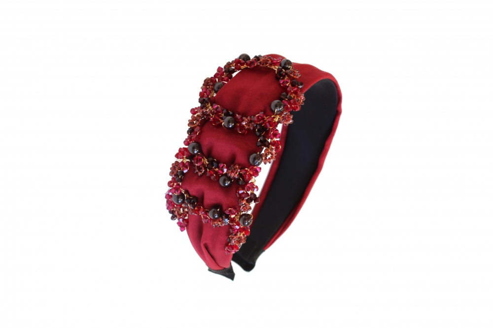 red and gold embellished headband