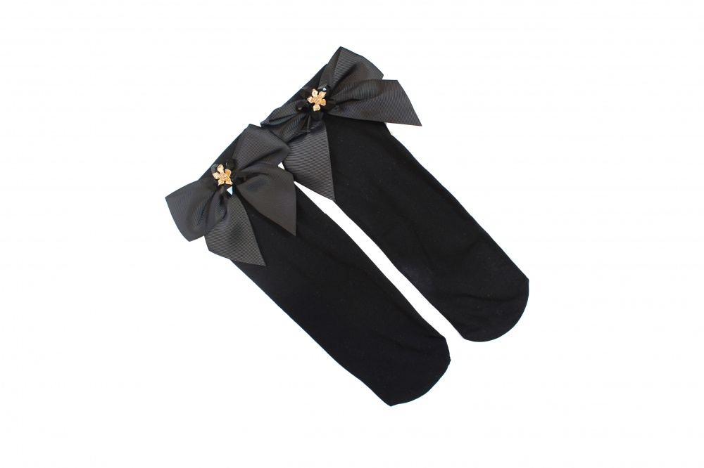 Image of black flower and crystal embellished ankle socks  - click to view