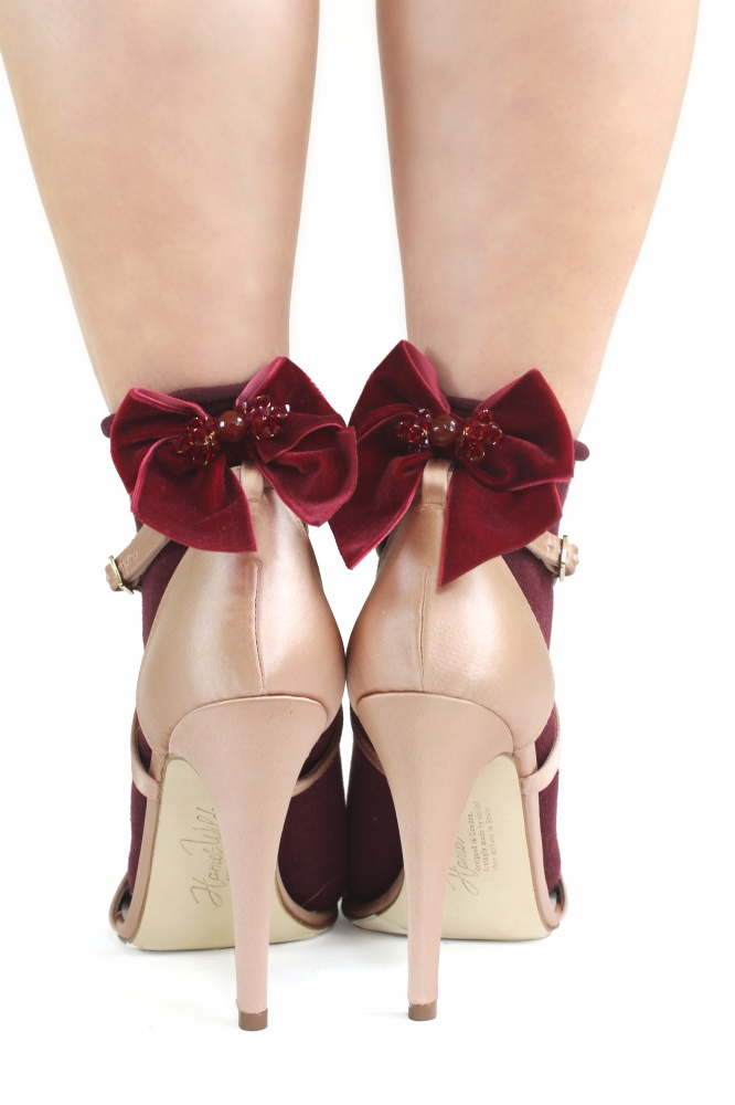ruby red crystal embellished bow ankle socks