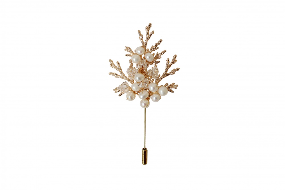 Gold crystal and pearl embellished hatpin