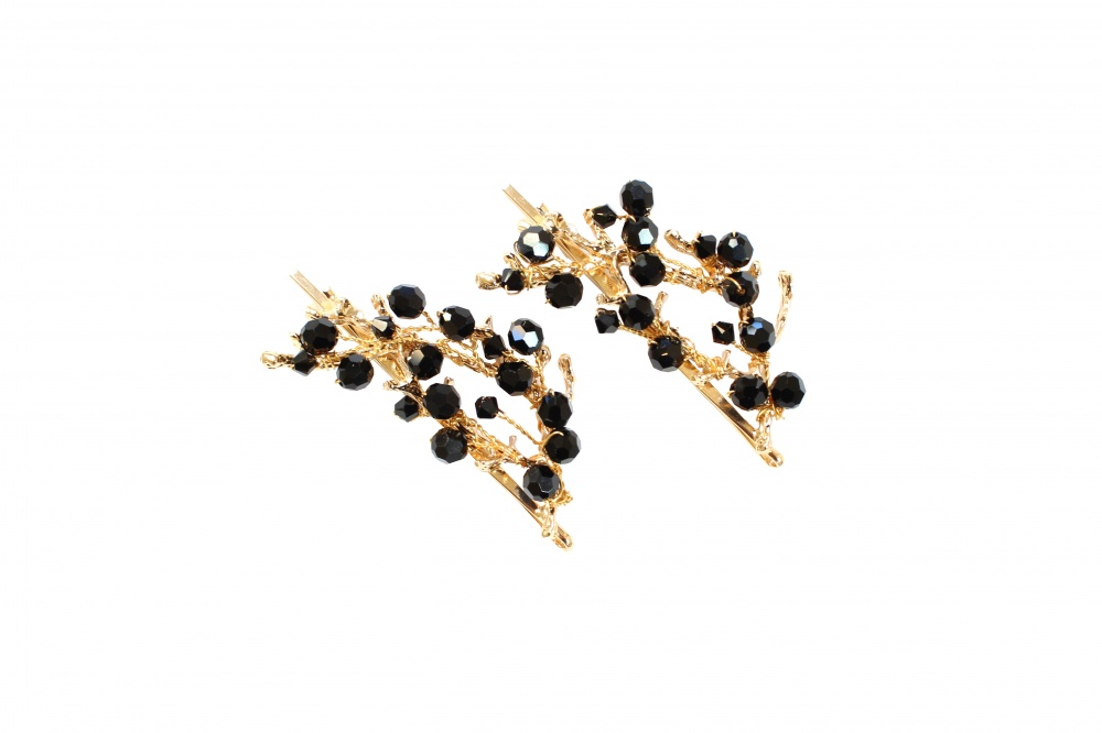 black Swarovski crystalembellished gold plated hair sli