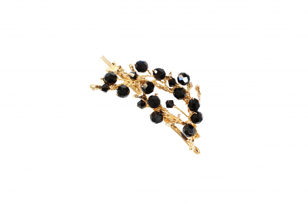 Image of black Swarovski crystalembellished gold plated hair sli - click to view