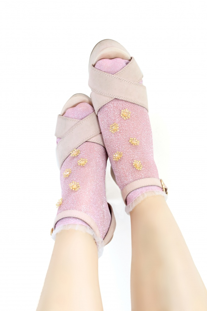 pink ankle socks with gold embellishments