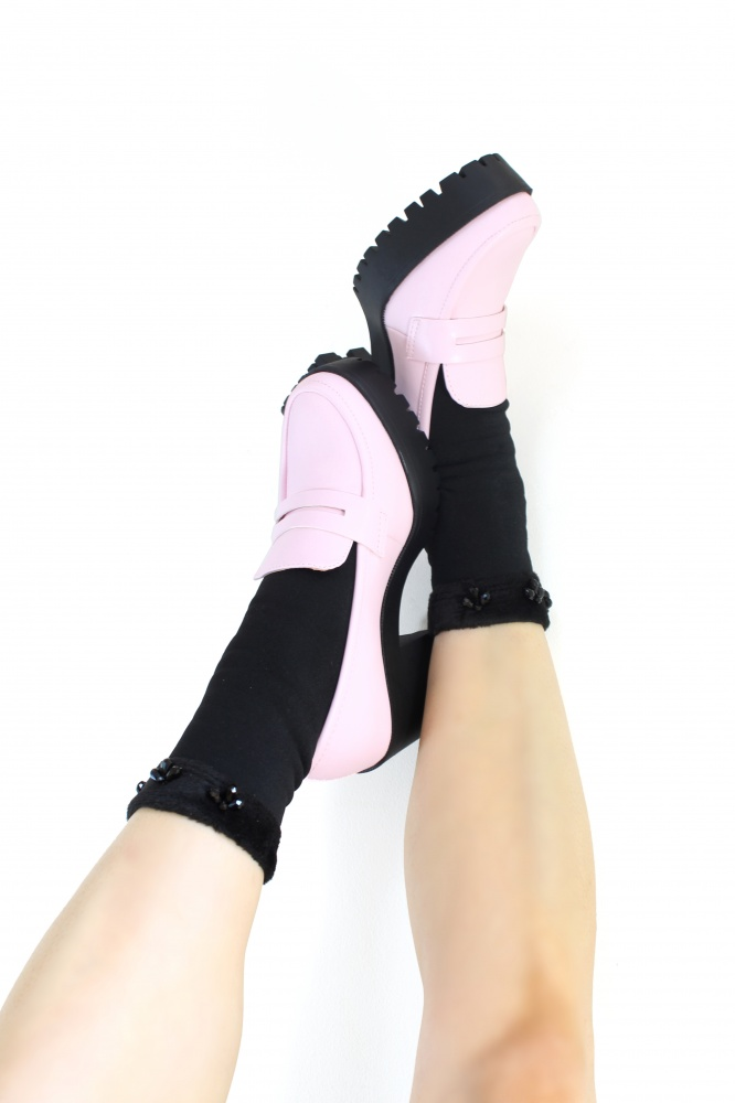 Black crystal embellished turn up fluffy ankle socks