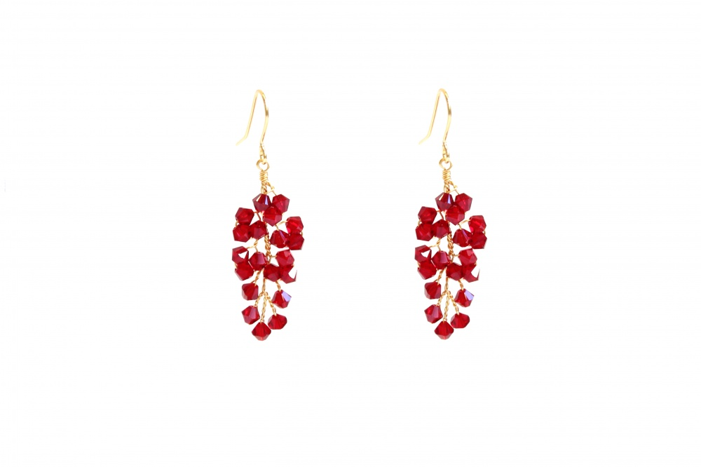 ruby red swarovski crystal party drop earrings