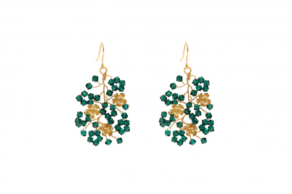 emerald green and gold swarovski crystal earrings
