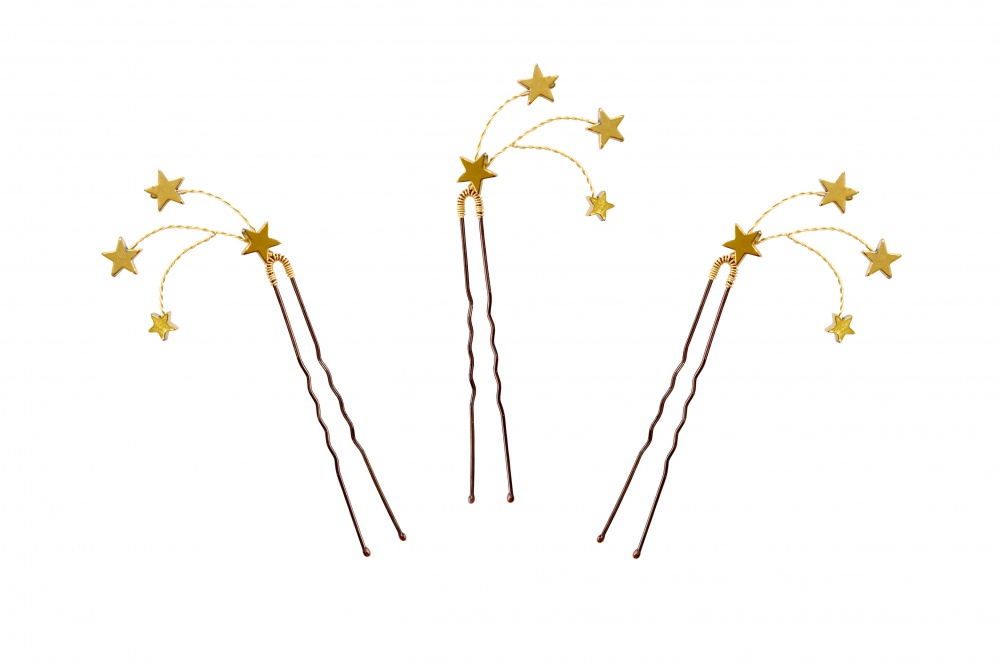 Gold plated star comet evening hairpins