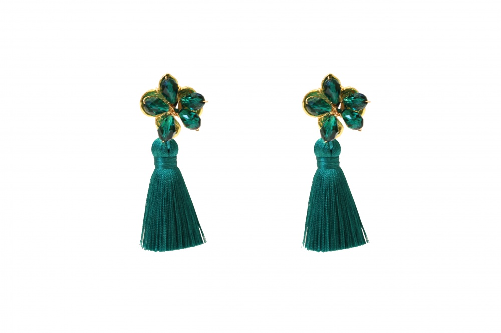 1e45a6d13 Tassel Crystal Emerald Earrings green gemstone and gold droplet ...