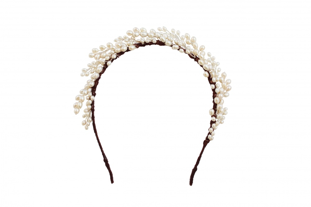 Image of pearl halo band headdress tiara - click to view