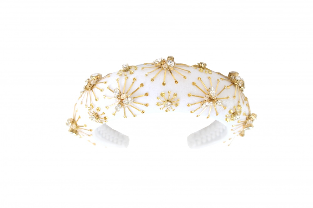 gold and crystal star headband turban wedding hairband