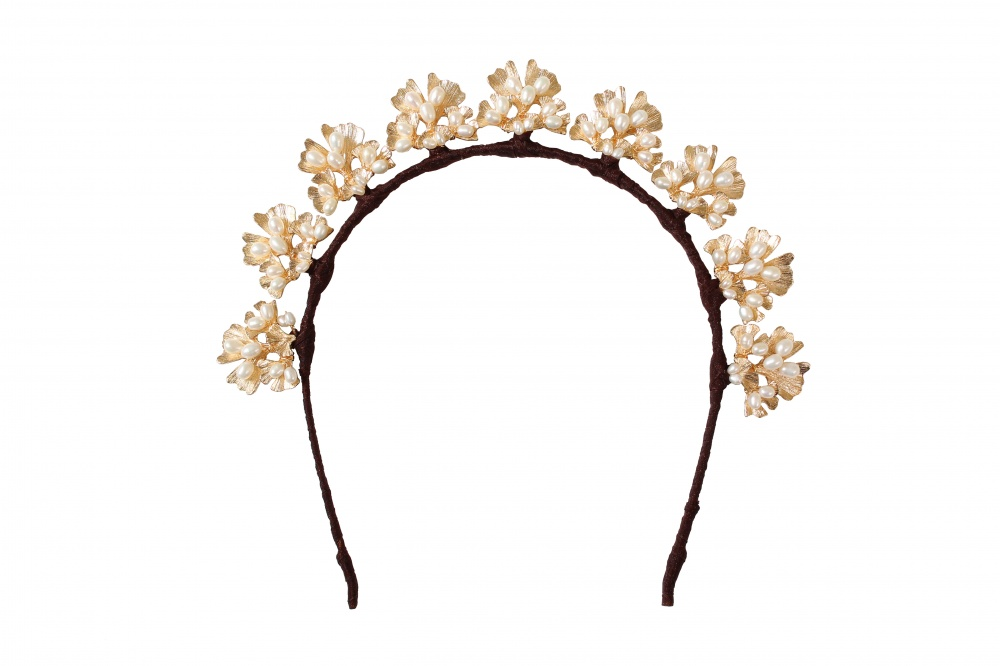 Image of pearl and gold leaf halo wedding crown tiara headband - click to view