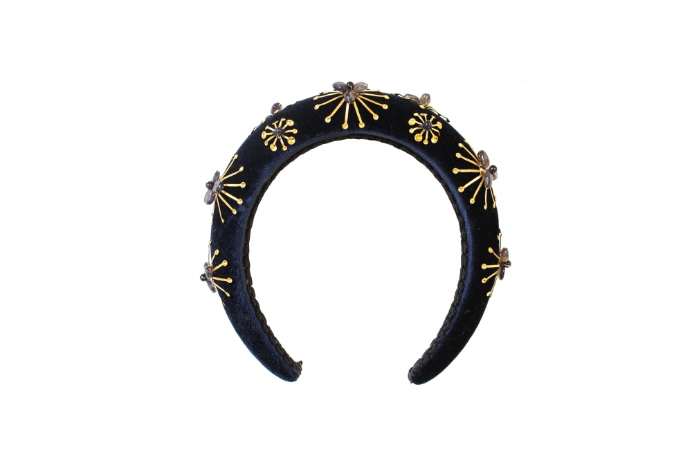 Image of navy velvet gold star embellished fashion headband  - click to view