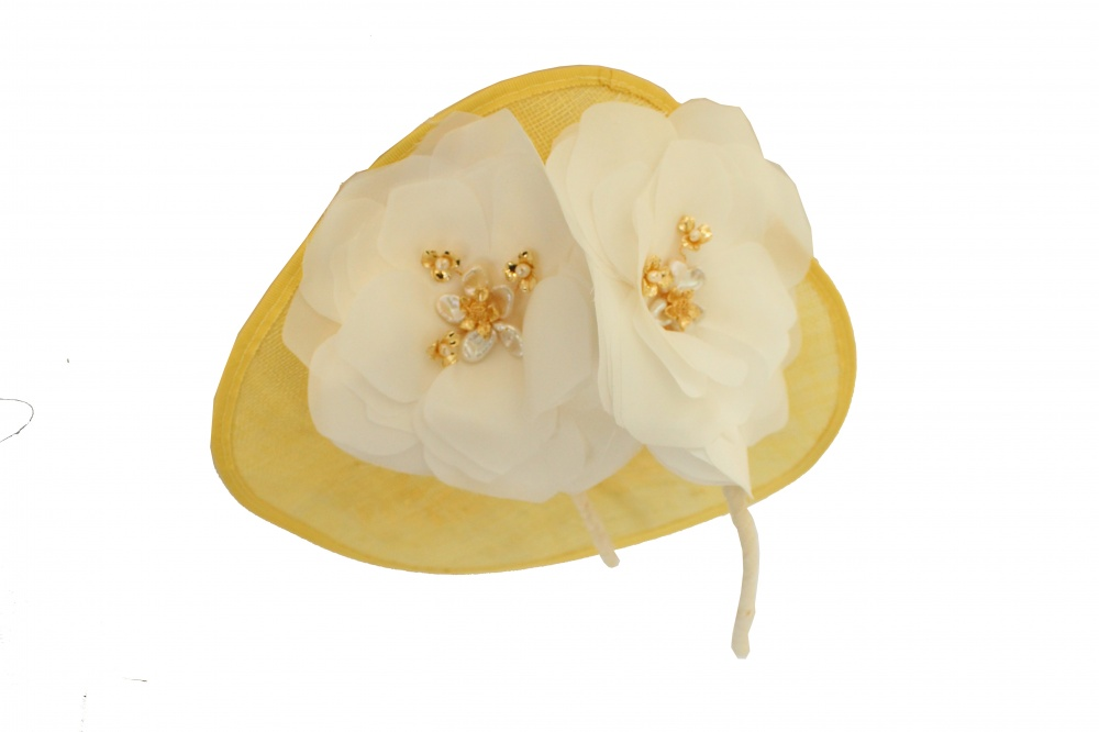 yellow millinery embellished race wear royal ascot hat
