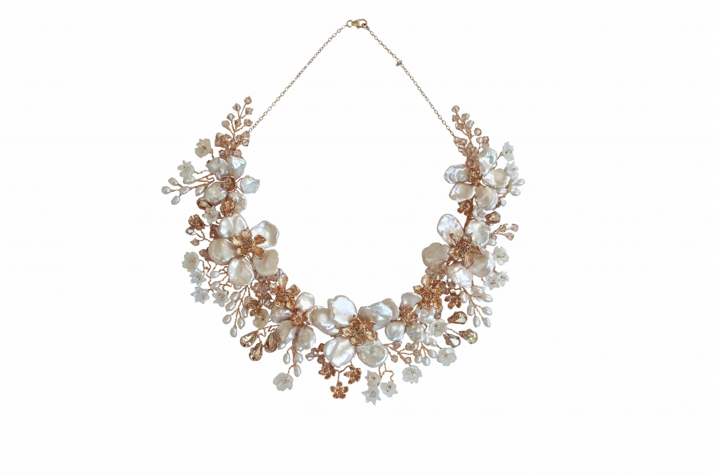 pearl flower and champagne crystal necklace