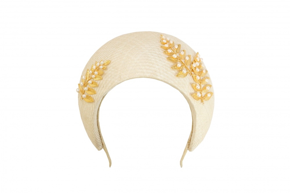 gold leaf bead embellished millinery headband halo hat