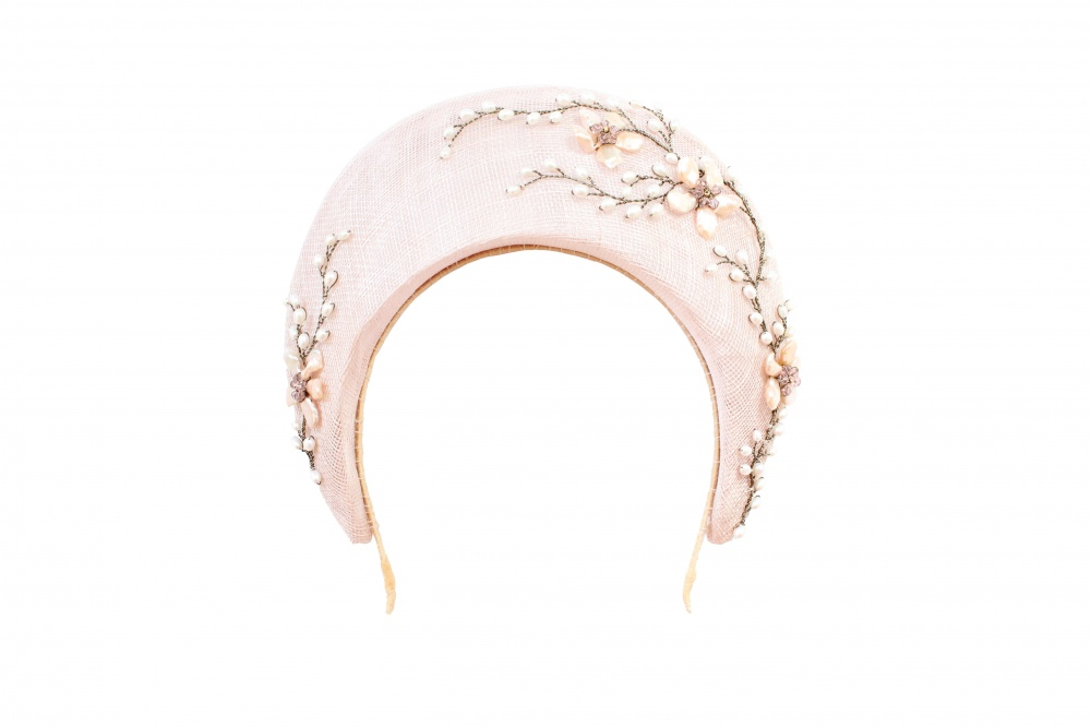 Image of Floral pearl embellished millinery headband halo hat  - click to view