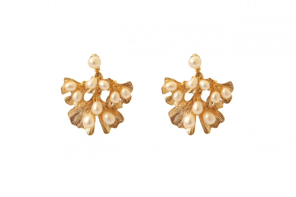 Image of Gold pearl embellished ginko leaf wedding earrings  - click to view