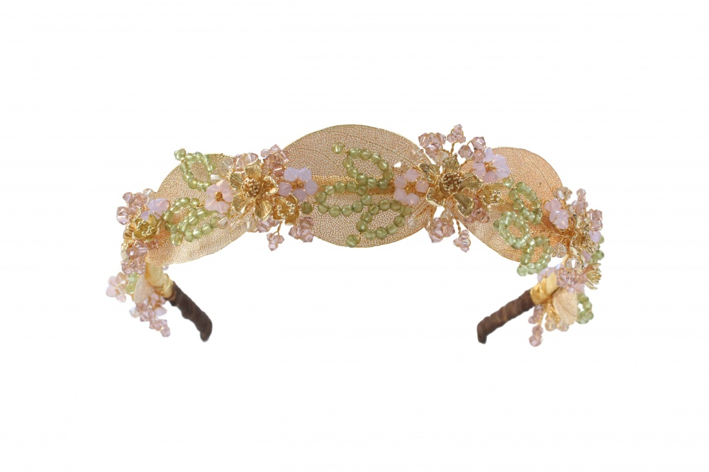 gold Swarovski embellished leaf wedding headband