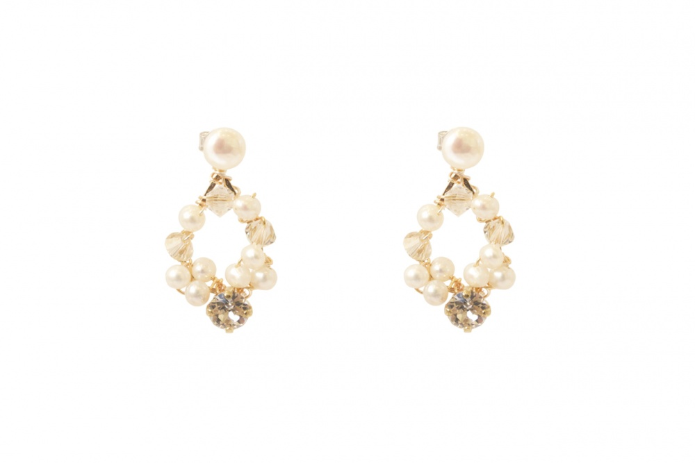 pearl and crystal wedding stud handmade earrings