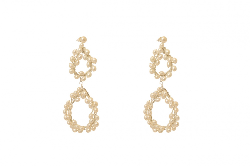 Image of Statement pearl wedding drop stud earrings - click to view