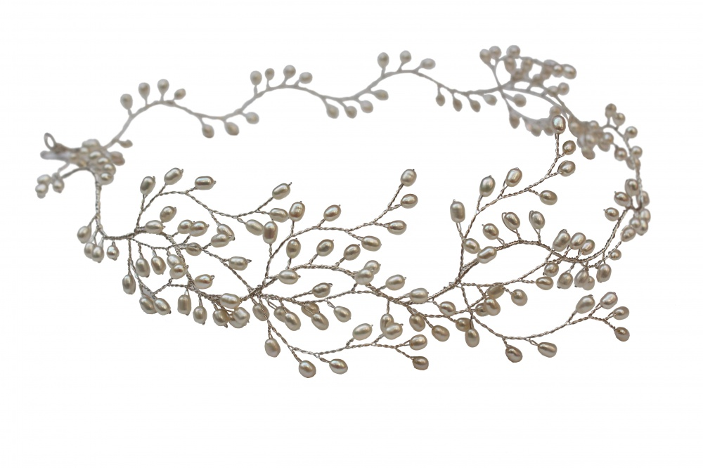 Image of Handmade pearl wedding hairvine hair garland  - click to view