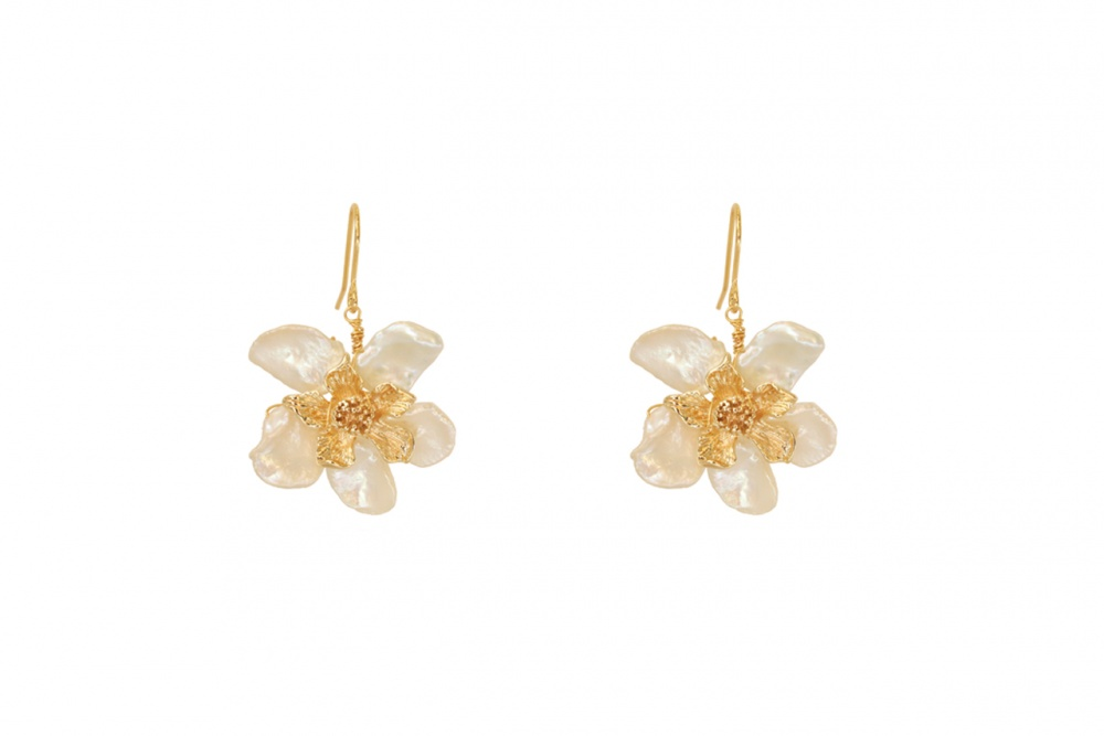 Pearl and gold flower drop wedding earrings