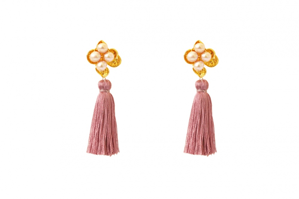 mauve silk tassel fashion earrings