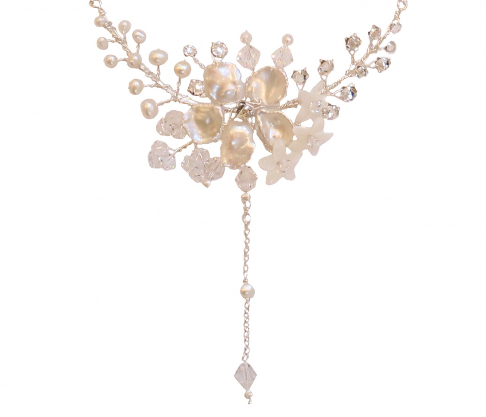 Image of Pearl and crystal blossom with tendrils drop necklace  - click to view