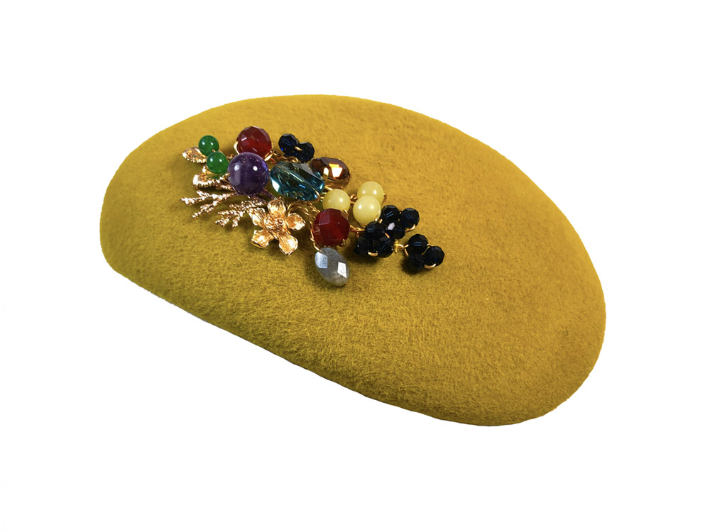Image of Mustard Yellow Multicoloured Swarovski Pillbox Hat - click to view