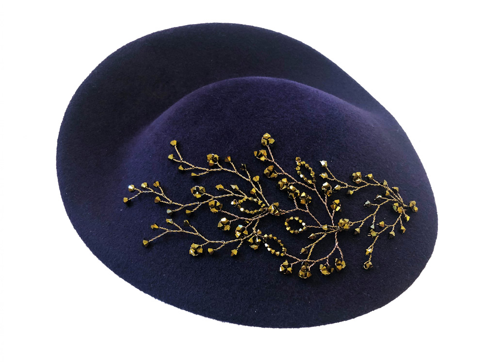 Image of purple bronze crystal embellished millinery - click to view