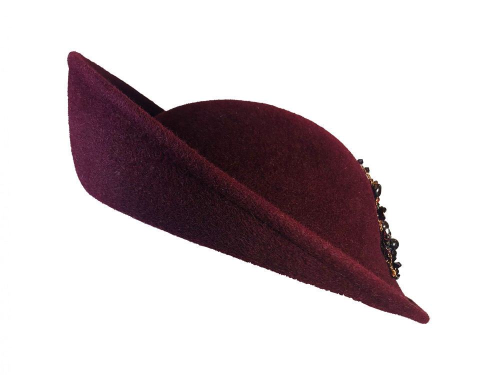 maroon berry coloured crystal hat