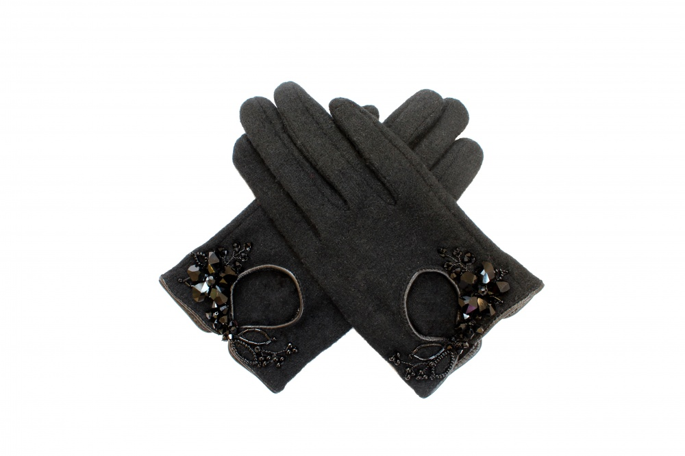 Image of black crystal bead embellished winter wool gloves - click to view
