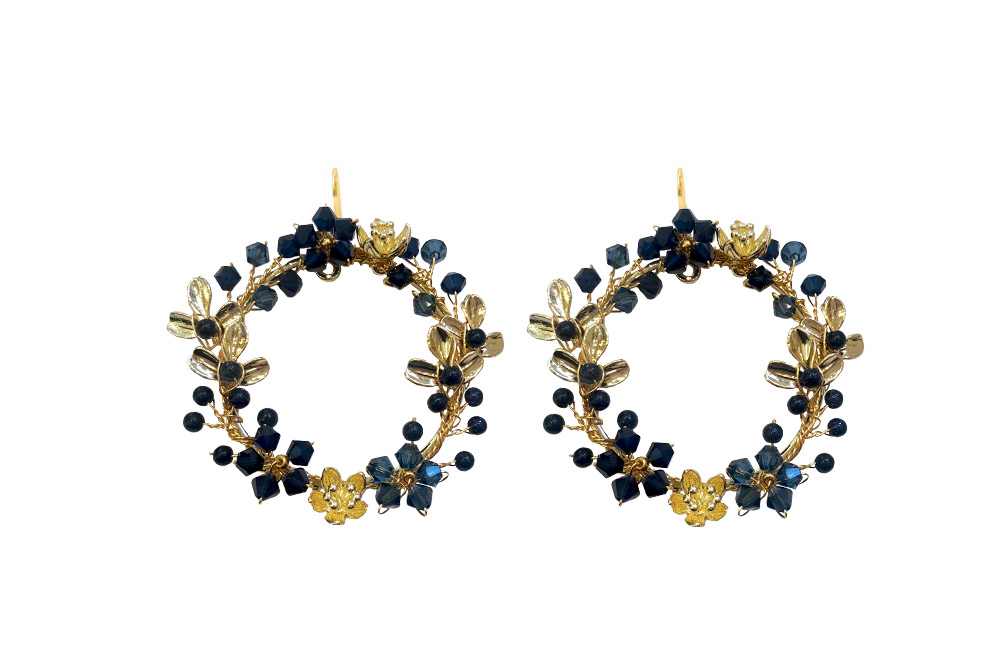 blue tonal crystal and goldhoop earrings