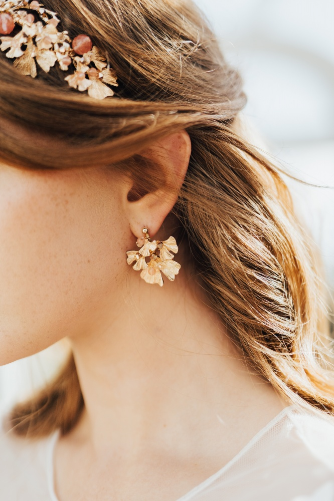 Image of gold crystal embellished wedding earrings - click to view