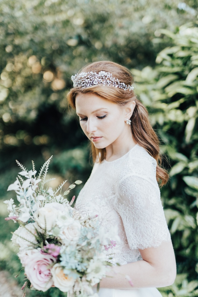 Image of silver crystal wedding hair tiara crown headpiece - click to view